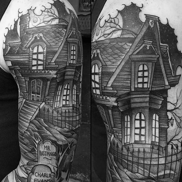 Haunted House Male Tattoo Designs