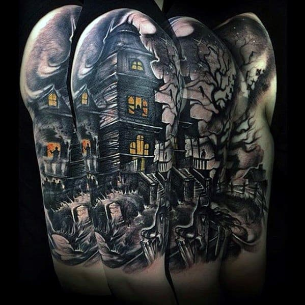60 Haunted House Tattoo Designs For Men