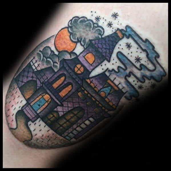 Haunted House Mens Tattoo Designs