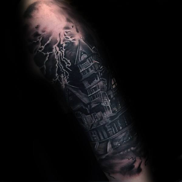 Haunted House Tattoo Design Ideas For Males