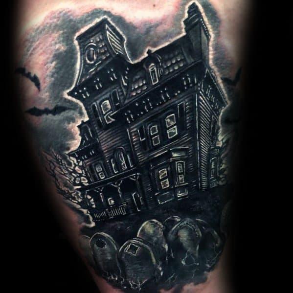 Haunted House Tattoo Design On Man