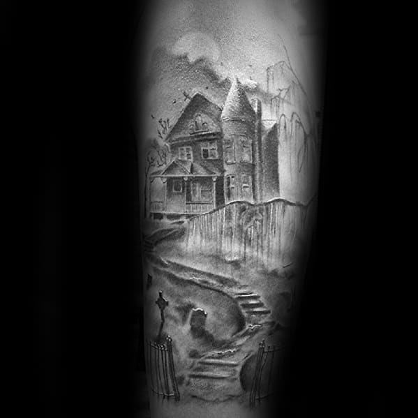 Haunted House Tattoo Designs For Guys