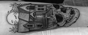60 Haunted House Tattoo Designs For Men – Spooky Spot Ink Ideas