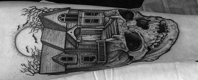 Haunted House Tattoo Designs For Men