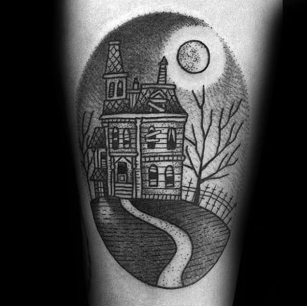 Haunted House Tattoo Ideas On Guys