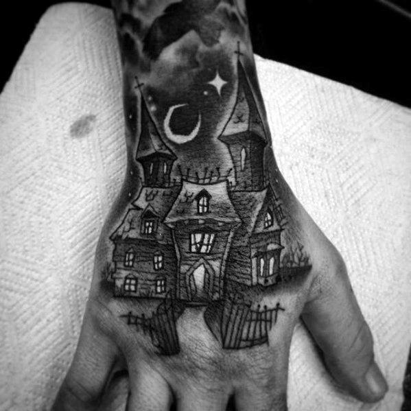 Haunted House Tattoo On Men