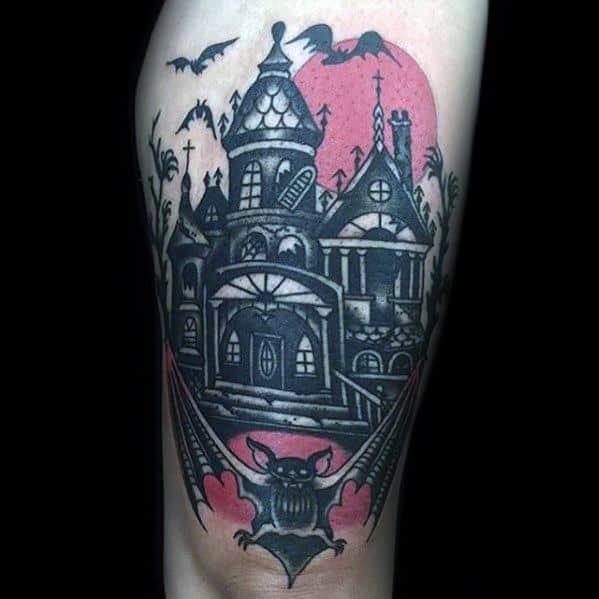 Haunted House Tattoos For Gentlemen
