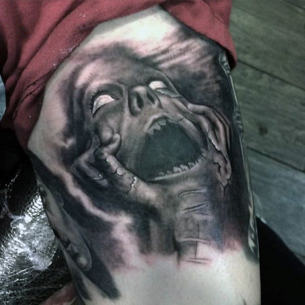 Haunted Spirit Mens Thigh Tattoo With Black Ink Shading