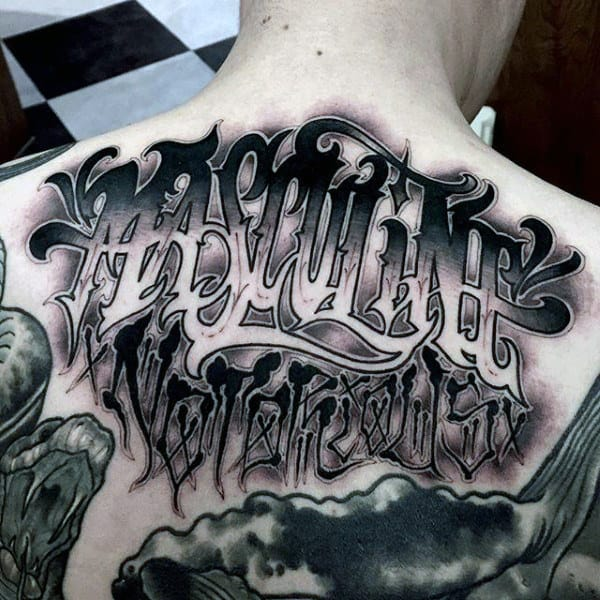 Haunting Lettering Tattoo Mens Back
