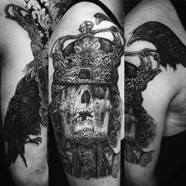 Haunting Skull With Crown And Eagle Tattoo On Arms For Guys