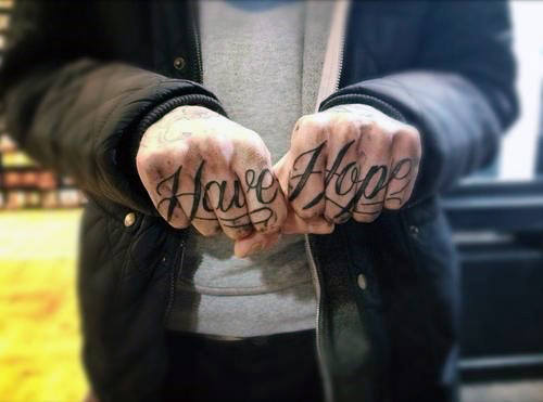 Have Hope Mens Knuckle Up Tattoo