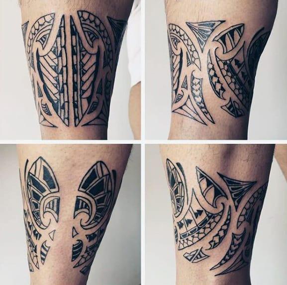 Hawaiian Guys Tribal Leg Band Tattoos