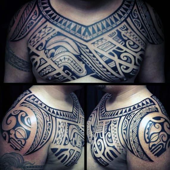 Hawaiian Male Tattoo Art On Chest