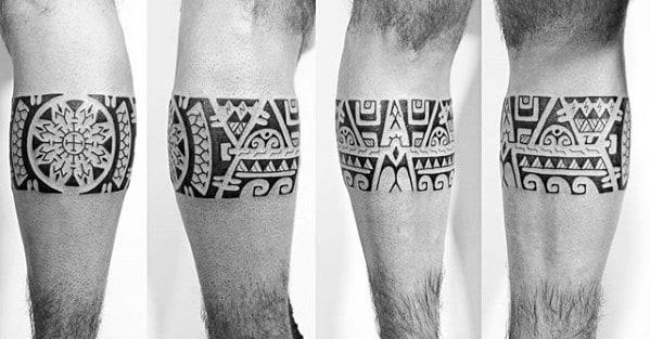 Hawaiian Masculine Guys Leg Band Tattoo Design Ideas