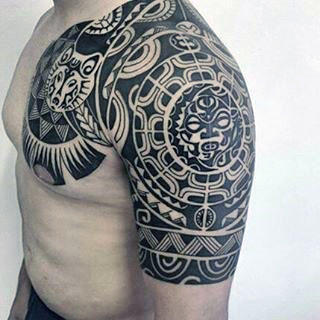 Hawaiian Mens Cool Half Sleeve And Chest Tattoo With Sun Design