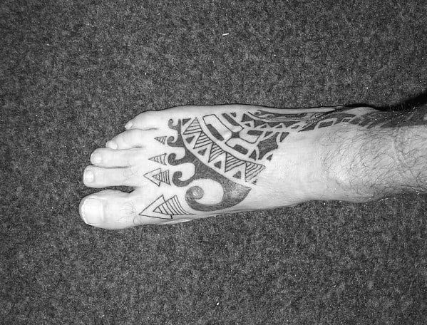 Hawaiian Mens Tribal Foot Tattoos