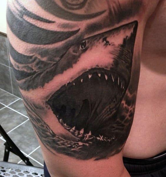 Hawaiian Shark Tattoo For Guys