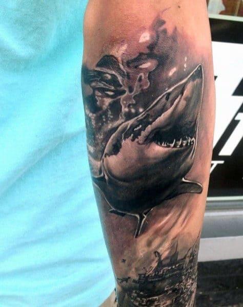 Hawaiian Shark Teeth Tattoo For Males