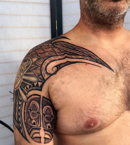 Hawaiian Shoulder Tattoo For Guys