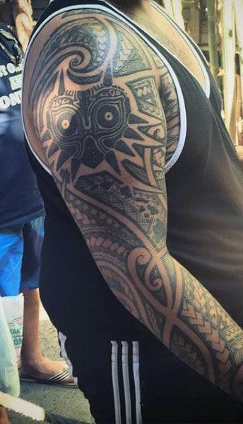 Hawaiian Shoulder Tattoos For Males
