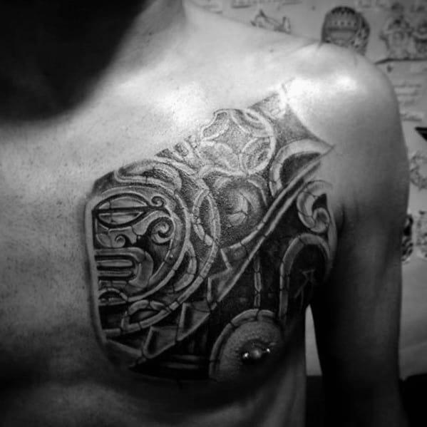 Hawaiian Sun Mens 3d Tribal Upper Chest Tattoo Designs