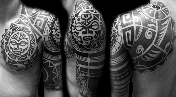 Hawaiian Sun Mens Nice Half Sleeve Black Ink Tattoo Inspiration