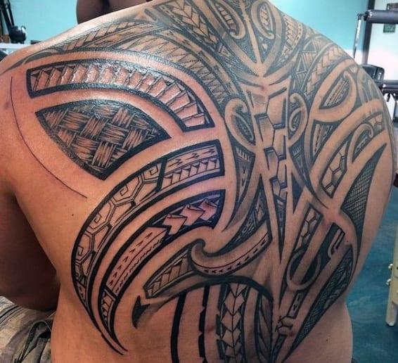 Hawaiian Tribal Back Tattoos Men