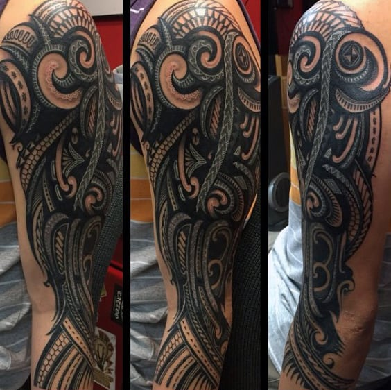 Hawaiian Tribal Band Sleeve Tattoos For Gentlemen
