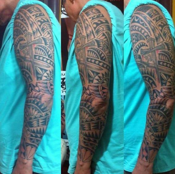 Hawaiian Tribal Cross Men's Tattoos