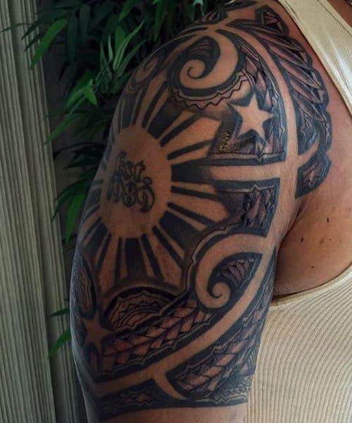Hawaiian Tribal Leg Tattoos For Men
