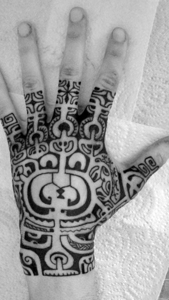 Hawaiian Tribal Male Hand Tattoos