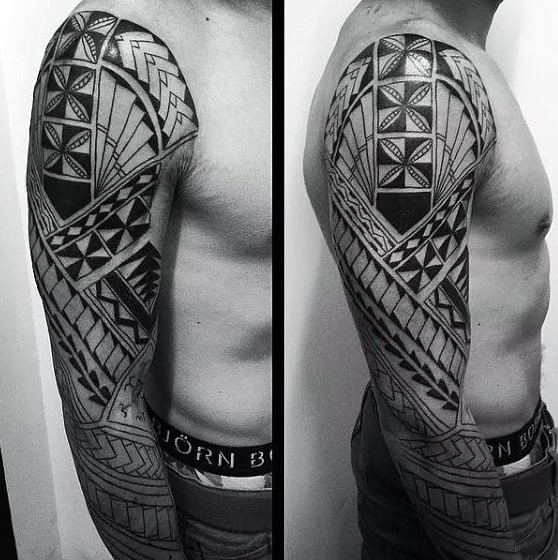 Hawaiian Tribal Mens Sleeve Tattoos