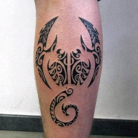 Hawaiian Tribal Scorpion Male Leg Calf Tattoo Designs