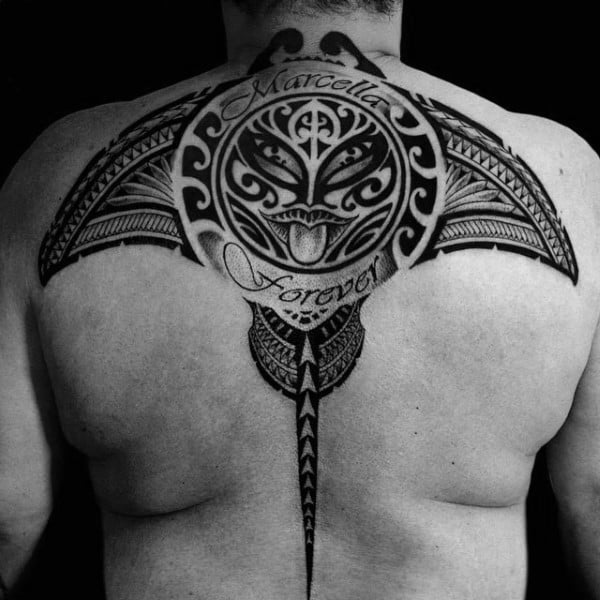 Hawaiian Tribal Stingray Male Upper Back Tattoo Designs