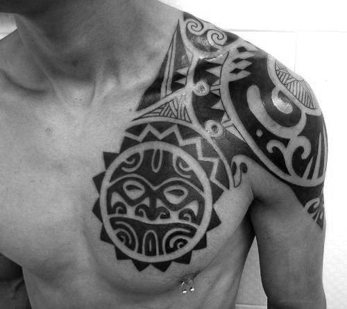 Hawaiian Tribal Sun Chest And Shoulder Male Tattoos