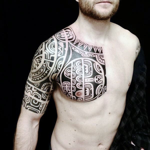Hawaiian Tribal Upper Chest And Half Sleeve Tattoos For Men