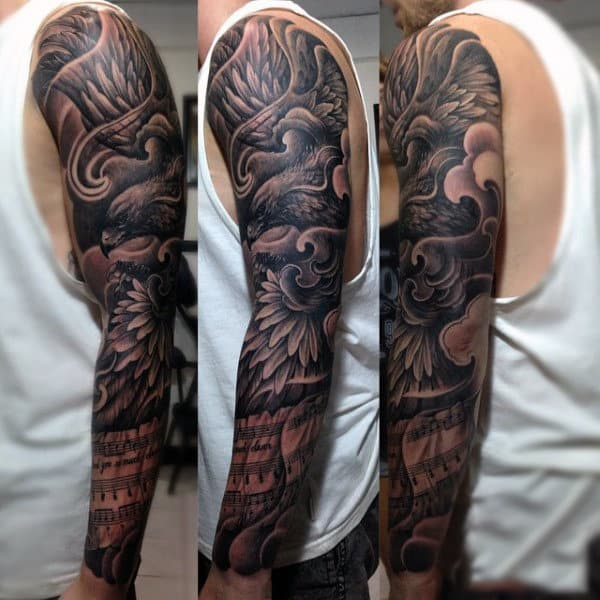 Hawk And Musical Notation Full Sleeve Black Tattoo For Men