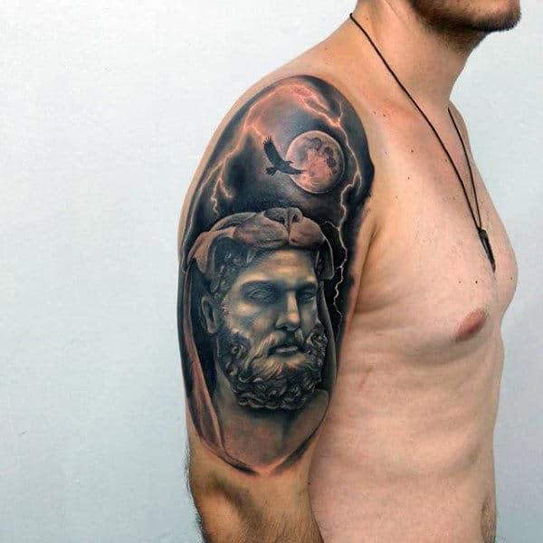 Hawk With Moon Hercules Mens Half Sleeve Tatoto Ideas