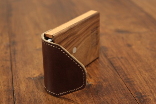 Haydanhuya Leather Pull Out Strap Wood Wallets