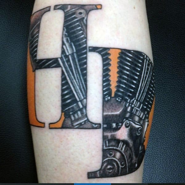 Hd Mens Harley Davidson Tattoo With Engine Design