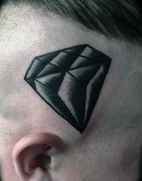 Head Black Diamond Traditional Style Mens Tattoo