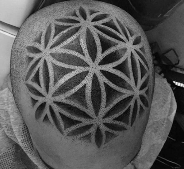 Head Flower Of Life Male Tattoo