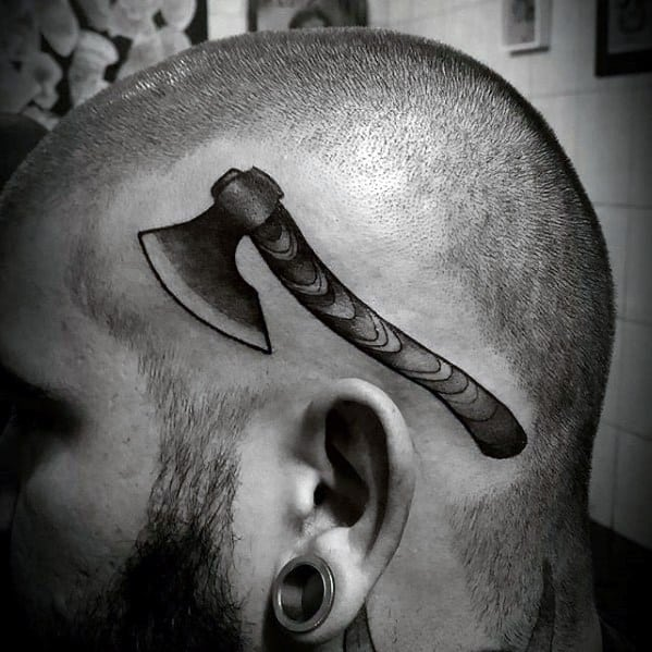 Head Old School Male Axe Tattoo Ideas
