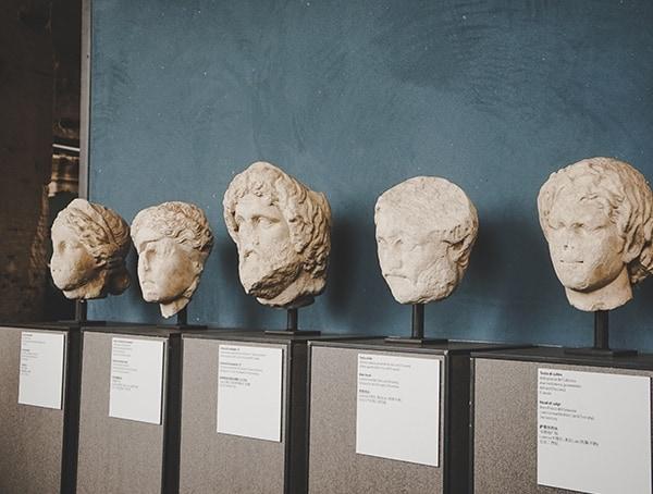Head Statues Colosseum Rome Italy
