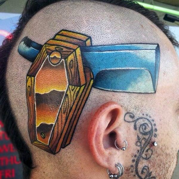 Head Tattoo Of Coffin Straight Razor Design On Man