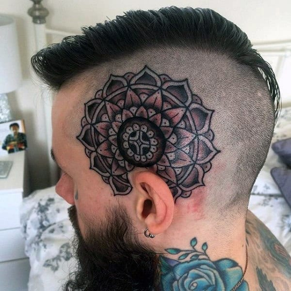 Head Tattoo Of Geometric Flower On Male