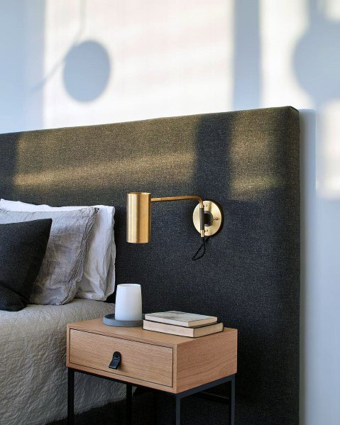 Headboard Brass Sconce Bedroom Ideas Lighting