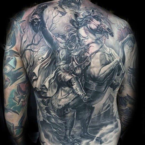 Headless Horseman Mens Detailed Full Back Tattoo