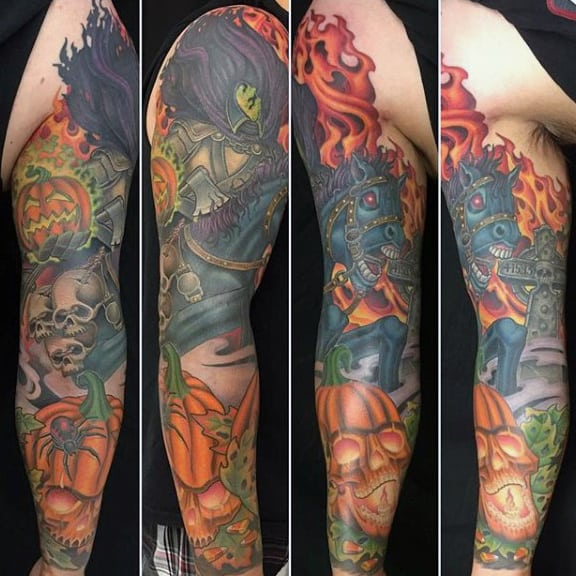Headless Horseman Mens Themed Full Tattoo Sleeve With Orange Ink Pumpkin