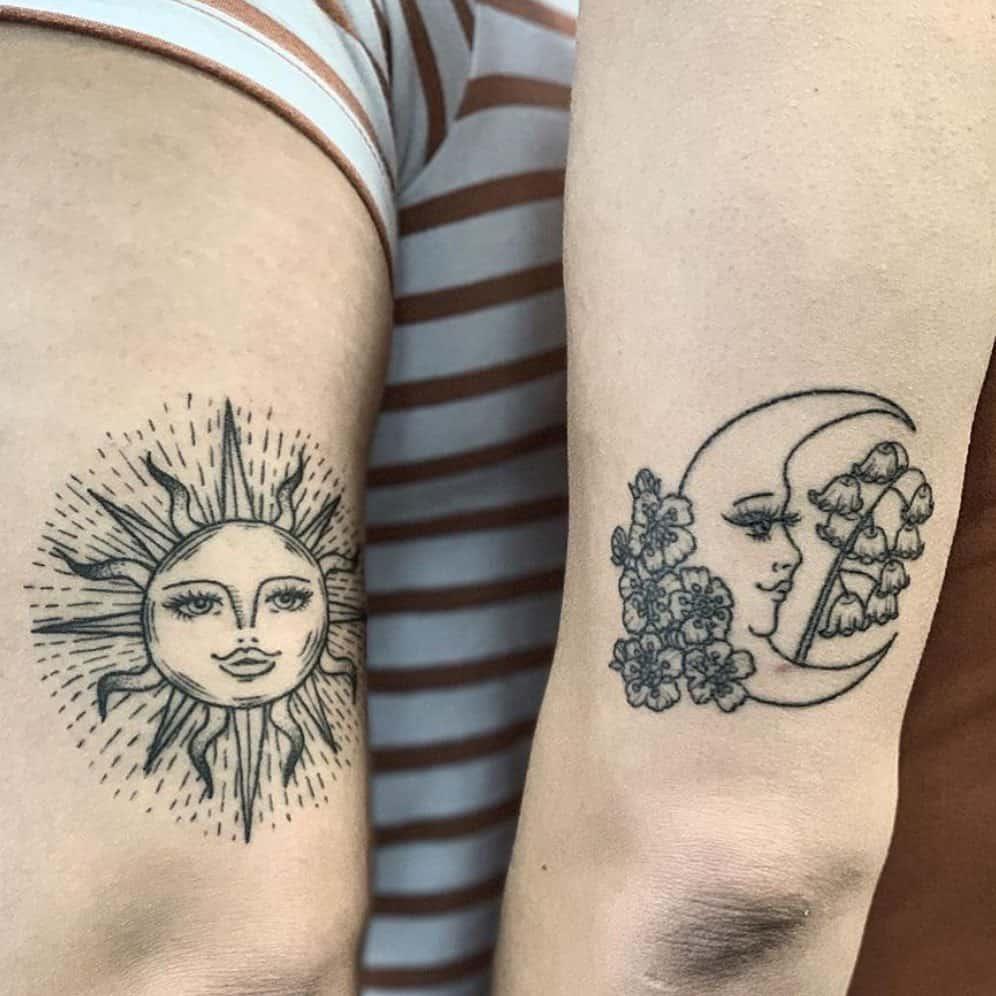 healed-line-work-sun-moon-sister-tattoo-hotinktattoos
